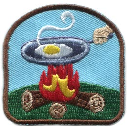 Campfire, Cook, Pan, Egg, Log, Camp, Food, Patch, Embroidered Patch, Merit Badge, Badge, Emblem, Iron On, Iron-On, Crest, Lapel Pin, Insignia, Girl Scouts, Boy Scouts, Girl Guides
