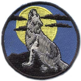 Howl, Wolf, Cloud, Moon, Full, Akela, Night, Patch, Embroidered Patch, Merit Badge, Badge, Emblem, Iron On, Iron-On, Crest, Lapel Pin, Insignia, Girl Scouts, Boy Scouts, Girl Guides