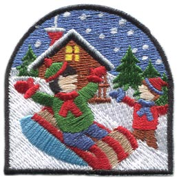 Winter, Fun, Sled, Snow, Outside, Play, House, Toboggan,  Patch, Embroidered Patch, Merit Badge, Badge, Emblem, Iron On, Iron-On, Crest, Lapel Pin, Insignia, Girl Scouts, Boy Scouts, Girl Guides