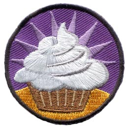 Cupcake, Challenge, Starburst, Icing, Patch, Embroidered Patch, Merit Badge, Badge, Emblem, Iron On, Iron-On, Crest, Lapel Pin, Insignia, Girl Scouts, Boy Scouts, Girl Guides