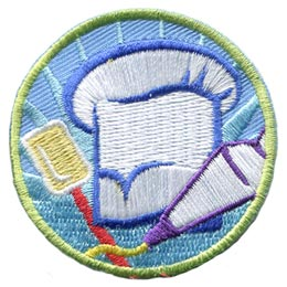 Pastry, Chef, Hat, Cake, Pie, Icing, Spatula, Patch, Embroidered Patch, Merit Badge, Badge, Emblem, Iron On, Iron-On, Crest, Lapel Pin, Insignia, Girl Scouts, Boy Scouts, Girl Guides