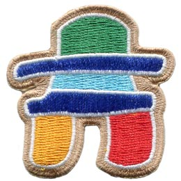 Inukshuk, Inuit, Grave, Embroidered Patch, Merit Badge, Badge, Emblem, Iron On, Iron-On, Crest, Lapel Pin, Insignia, Girl Scouts, Boy Scouts, Girl Guides