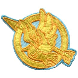Bird, Arrow, Game, Hunger,Patch, Embroidered Patch, Merit Badge, Badge, Emblem, Iron On, Iron-On, Crest, Lapel Pin, Insignia, Girl Scouts, Boy Scouts, Girl Guides