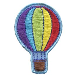 Hot, Air, Balloon, Rainbow, Ride, Basket, Patch, Embroidered Patch, Merit Badge, Badge, Emblem, Iron On, Iron-On, Crest, Lapel Pin, Insignia, Girl Scouts, Boy Scouts, Girl Guides