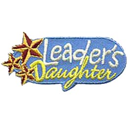 Three metallic stars decorate the left side of this oval patch. The word Leader's is written above the cursive written word Daughter.