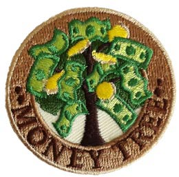 Money, Tree, Coins, Bills, Dollars, Currency, Patch, Embroidered Patch, Merit Badge, Badge, Emblem, Iron On, Iron-On, Crest, Lapel Pin, Insignia, Girl Scouts, Boy Scouts, Girl Guides