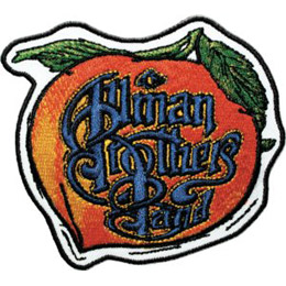 The logo for Allman Brothers Band sits inside a giant peach with two green leaves.