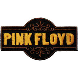The name, \\\'Pink Floyd\\\', is embroidered in yellow thread inside a black rectangle.