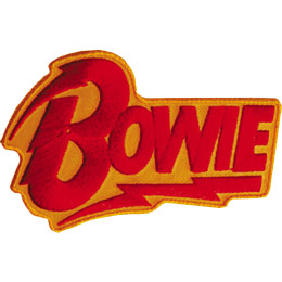 The name \\\\\\\'Bowie\\\\\\\' is in red thread on an orange background. The top of the \\\\\\\'B\\\\\\\' and the underline for \\\\\\\'Bowie\\\\\\\' are lightning bolts.