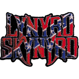 The words, \\\'Lynyrd Skynyrd\\\' are stacked on top of each other and coloured red. A blue X is slashed through the name with white stars inside.