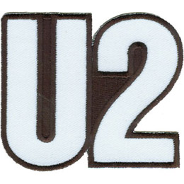 The patch is formed by the letter \\\\\\\'U\\\\\\\' followed by \\\\\\\'2\\\\\\\' to make the band name \\\\\\\'U2\\\\\\\'. The background is solid black.