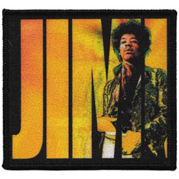 This die sublimated patch has \\\'JIMI\\\' in yellow letters with a image of Jimi Hendrix himself placed overtop.