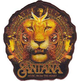 This crest shows the Santana lion (the face of a lion with his mane appearing like an Aztec calendar) with the Santana logo and \\\\\\\'Music From The Heart\\\\\\\' written underneath.