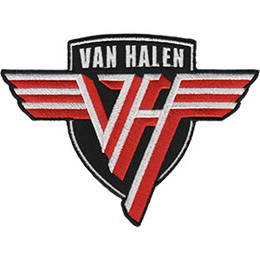 This shield shaped crest has the winged \\\'VH\\\' logo on it. Above the logo are is the band\\\'s name \\\'Van Halen\\\'.
