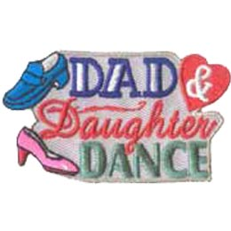 Dad, Daughter, Dance, Dad & Daughter, Dad & Me, Shoe, Heart, Patch, Embroidered Patch, Merit Badge, Crest, Girl Scouts, Boy Scouts, Girl Guides