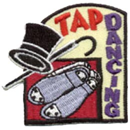 Tap Dancing, Dance, Shoes, Hat, Cane, Patch, Embroidered Patch, Merit Badge, Crest, Girl Scouts, Boy Scouts, Girl Guides