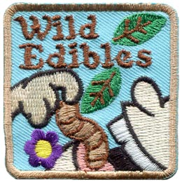 Wild, Edibles, Food, Worm, Nuts, Berries, Leaf, Flowers, Eat, Patch, Embroidered Patch, Merit Badge, Badge, Emblem, Iron On, Iron-On, Crest, Lapel Pin, Insignia, Girl Scouts, Boy Scouts, Girl Guides