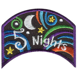 This wide, upside down U shaped patch has the words '5 Nights'. Multi-coloured swirls accompany stars and a moon to decorate this crest.
