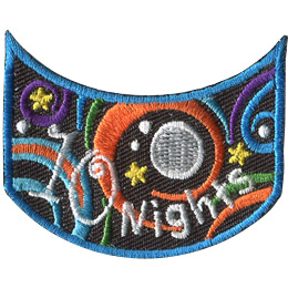 This wide U shaped patch has the words '10 Nights'. Multicoloured swirls accompany stars and a moon to decorate this crest.