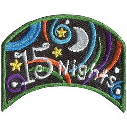 This wide, upside down U shaped patch has the words '15 Nights'. Multi-coloured swirls accompany stars and a moon to decorate this crest.