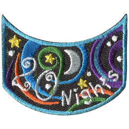 This wide U shaped patch has the words '20 Nights'. Multicoloured swirls accompany stars and a moon to decorate this crest.
