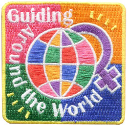 Guide, Guiding, World, Friend, Friendship, Thinking Day, Patch, Embroidered Patch, Merit Badge, Badge, Emblem, Iron On, Iron-On, Crest, Lapel Pin, Insignia, Girl Scouts, Boy Scouts, Girl Guides