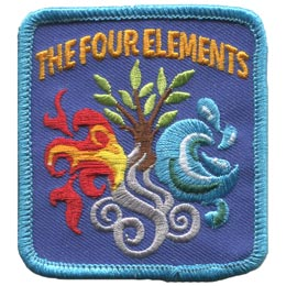 Four, Element, Fire, Water, Earth, Air, Wind, Challenge, Patch, Embroidered Patch, Merit Badge, Crest, Girl Scouts, Boy Scouts, Girl Guides