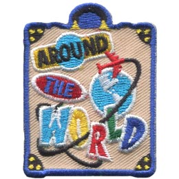 This travel bag patch has ''Around The World'' written on the luggage in a sticker like design. An airplane flies around a globe on the suitcases front face.