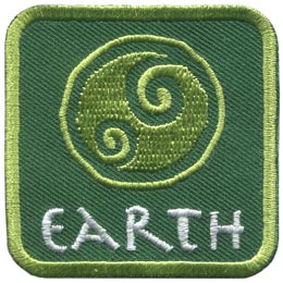 This green patch is decorated with a swirling symbol of a round earth. The word ''Earth'' is embroidered in white text near the base of the patch.