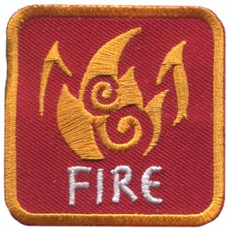 This red patch is decorated with burning flames. The word ''Fire'' is embroidered in white text near the base of the patch.