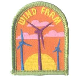 Wind, Farm, Environment, Windmill, Energy, Patch, Embroidered Patch, Merit Badge, Badge, Emblem, Iron On, Iron-On, Crest, Lapel Pin, Insignia, Girl Scouts, Boy Scouts, Girl Guides