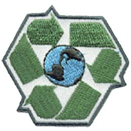 Three arrows form an inverted triangle with planet Earth in the center. This symbol represents the three step plan in making the world a greener place: reduce, reuse, and recycle.