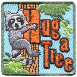 Hug, Tree, Hug A Tree, Raccoon, Safe, Lost, Wood, Forest, Patch, Embroidered Patch, Merit Badge, Badge, Emblem, Iron On, Iron-On, Crest, Lapel Pin, Insignia, Girl Scouts, Boy Scouts, Girl Guides