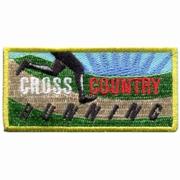 This horizontal rectangular patch has the black silhouette of a runners legs racing across a dirt path. Emerald green grass borders the path as a blue starburst fills the background. The words ''Cross Country Running'' are embroidered across the patch.