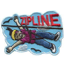 A young woman has her arms spread wide as she speeds down on a zipline. Clouds and birds can be seen in the background and the word 'Zipline' rests above the zipline rope itself.