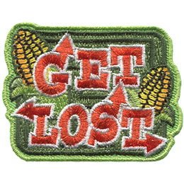 The words 'Get Lost' have arrows pointing off them towards every which way. Two half husked corns decorate the green background.