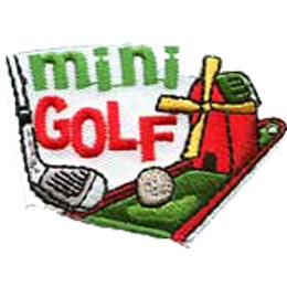 Mini Golf, Golf, Ball, Putter, Windmill, Merit Badge, Patch, Crest, Girl, Boy, Scouts, Guides