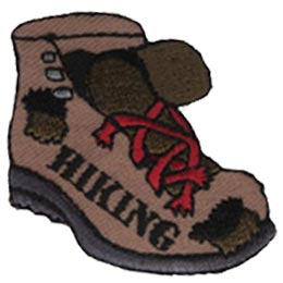 Hiking, Shoe, Boot, Hiker, Foot, Feet, Lace, Patch, Embroidered Patch, Merit Badge, Iron On, Iron-On, Crest, Girl Scouts, Boy Scouts, Girl Guides