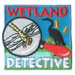 Wetland Detective, Wetland, Detective, Crane, Dragonfly, Pond, Patch, Embroidered Patch, Merit Badge, Badge, Emblem, Iron On, Iron-On, Crest, Lapel Pin, Insignia, Girl Scouts, Boy Scouts, Girl Guides