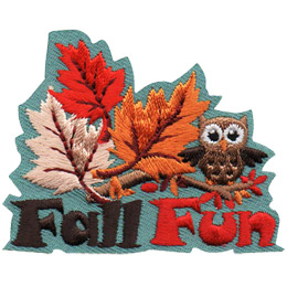 <p>Three leaves of red, white, and gold colours start to float up off a branch, carried by the wind. A small owl sits on the branch (to the right of the leaves) as well, looking like it is about to take off. The words 'Fall Fun' are embroidered underneath the image.</p>