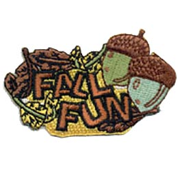 Fall, Fun, Acorn, Cone, Pine, Leaves, Leaf, Patch, Embroidered Patch, Merit Badge, Badge, Emblem, Iron On, Iron-On, Crest, Lapel Pin, Insignia, Girl Scouts, Boy Scouts, Girl Guides