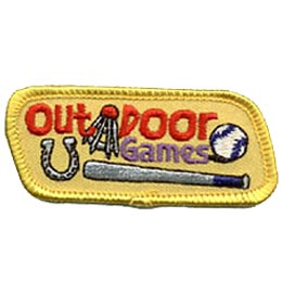 Outdoor Games, Ball, Bat, Badminton, Horseshoe, Outdoors, Embroidered Patch, Merit Badge