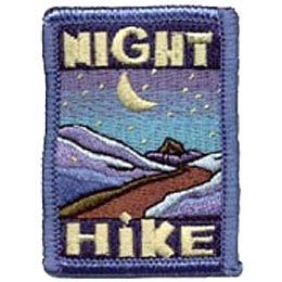This rectangular patch has the word ''Night'' written at the top and ''Hike'' at the bottom. In the middle rests a mountain trail landscape that sits under a crescent moon surrounded by stars.