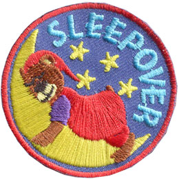 Sleepover, Sleep, Bear, Moon, Star, Overnight, Party, Patch, Embroidered Patch, Merit Badge, Badge, Emblem, Iron On, Iron-On, Crest, Lapel Pin, Insignia, Girl Scouts, Boy Scouts, Girl Guides