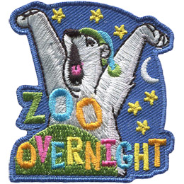 A polar bear, wearing a night cap and tucked into bed, stretches his arms above his head and gives a big yawn as he gets ready for bed. Stars and a moon show in the background and the text 'Zoo Overnight' rests at the bottom of the patch.
