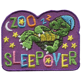 A turtle in his little night cap sleeps soundly under the stars and the moon. The words \'\'Zoo Sleepover\'\' are embroidered in a variety of pastel colours.