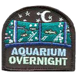 Aquarium Overnight, Sleepover, Stars, Dolphin, Whales, Fish, Embroidered Patch, Merit Badge