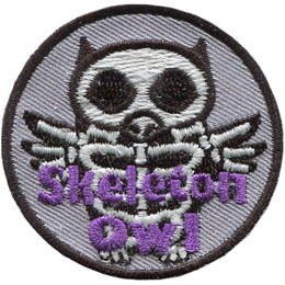 This circular badge displays the outline of an owl with its skeleton showing. The words \'Skeleton Owl\' are embroidered near the bottom of the crest.