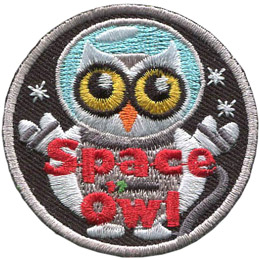 This round patch shows an owl in an astronaut's space suit floating amongst the stars. Embroidered near the bottom of the crest are the words 'Space Owl'.