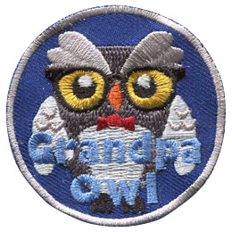 This senior owl is wearing horned-rimmed glasses and a bowtie. The text near the bottom says \'Grandpa Owl\'.